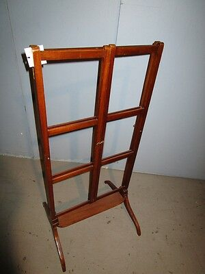 19c Antique English Georgian Mahogany Adjustable Quilt Blanket Rack Stand c1850