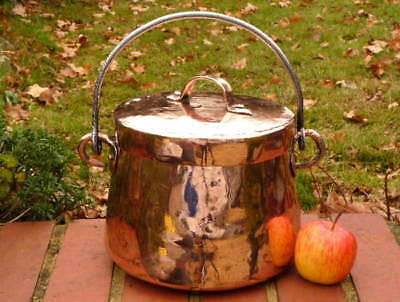 SMALL COPPER LATE GEORGIAN KITCHEN STOCK POT with IRON BALE HANDLE & COVER