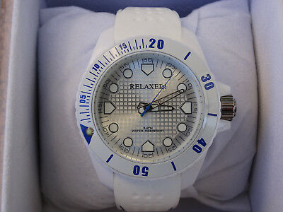 Relaxed Watch Unisex in White Blue stitching on strap Free Delivery and Tracking