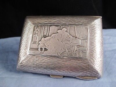 Pictorial Lovers Sterling Silver English Antique Cigarette Card Case Pocket Box
