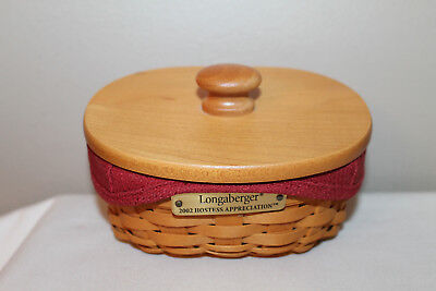 2002 Longaberger  Hostess Appreciation  Basket, Lid, Paprika Fabric