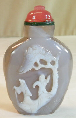 Chinese Carved Cameo Agate Snuff Bottle with People Under Tree and Flowers