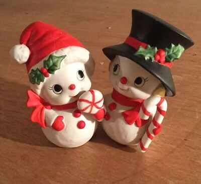 Mr and Mrs Snowman figurines by HOMCO