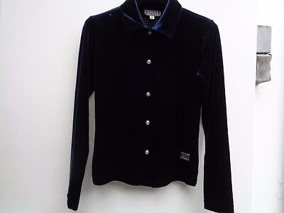 VINTAGE blouse top blue velvet VERSACE jeans small