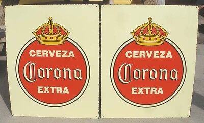 pair of alike Cerveza Corona Extra Beer large raised letter tin signs NOS Mexico