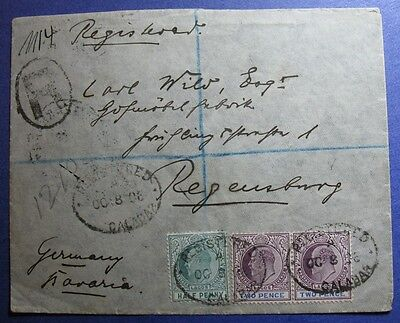 1906 LAGOS REGISTERED COVER TO BAVARIA SCOTT# 50a 52a SG.# 54a 56a USED CS08392B