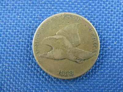 1858 U.s. Flying Eagle Copper Cent Coin Small Letters
