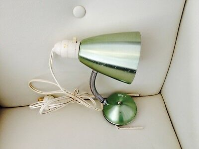 Vintage Retro 1960's Green Anodised Aluminium Clip On Bed Lamp Light