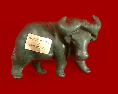 Beautiful Vintage Green Jade Water Buffalo Carved Figurine Antique Swaziland