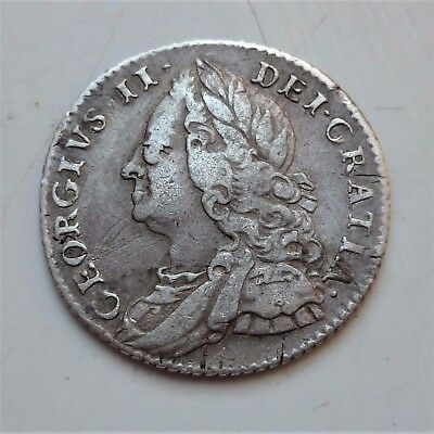 1757 George Ii Silver Sixpence ( Lovely Scarce Coin)