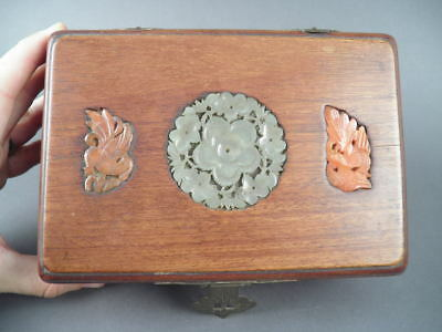 Old Chinese Wood & Jade Box Carving Sculpture Scholar Art