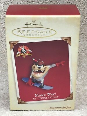Hallmark Looney Tunes Make Way! Ornament w/Box 2005 Taz Snowboard QXI8772