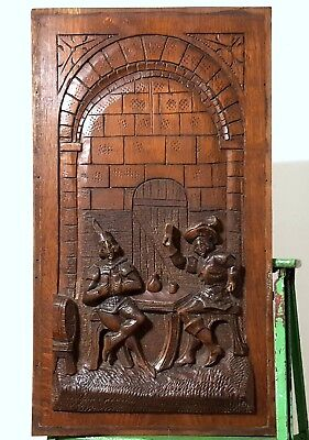 Carved Wood Panel Solid Antique French Chateau Drinker Scene Salvage Panelling