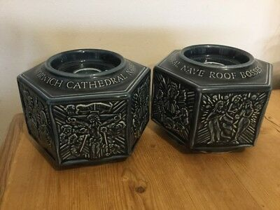 Pair Holkham Pottery candlesticks