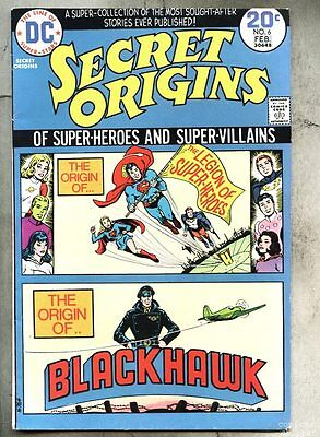 Secret Origins #6-1974 fn Superboy Legion Of Super-Heroes Blackhawk