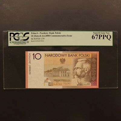 Poland 10 Zlotych 4.6.2008 P#179 Banknote PCGS 67PPQ - Superb Gem New