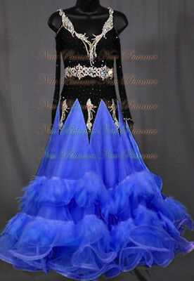 U6054 Feather fur Women Ballroom tango waltz Foxstep dance dress Tailor made