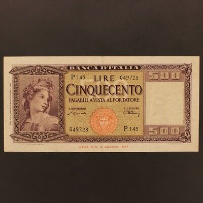 Italy 500 Lire 10.2.1948 P#80a Banknote VF+