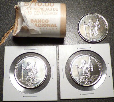 Panama 1/2 Balboa 2013, Partial Mint Roll of 15 Coins, Discovery of the Pacific