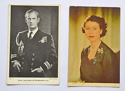 Pair of Vintage postcards of Her Majesty the Queen & The Duke of Edinburgh