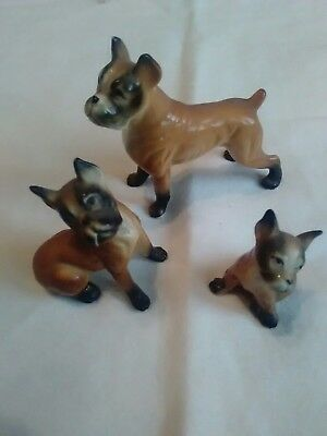 3 Vintage Boxer Dogs Figurines, Made in Japan
