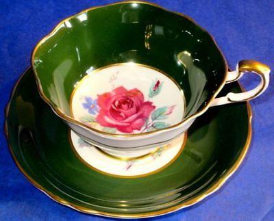 Paragon Superb Deep Green with Gold Pink Rose A1401 Fine Bone China Cup & Saucer
