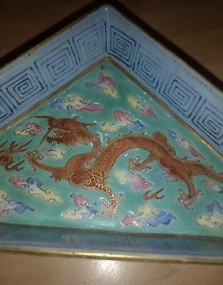 Oriental Porcelain Triangle Shape Dragon Dish Characters Marks Chinese Japanese