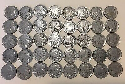 Roll (40 coins) Buffalo/Indian Head Nickels - Full Dates - No Reserve