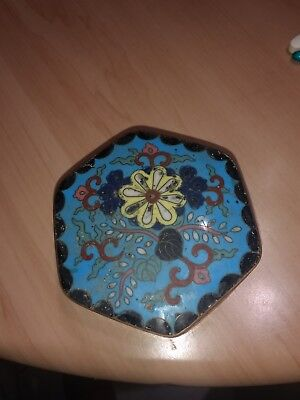 Oriental Hexagonal Shape Cloisonne Box Chinese Japanese