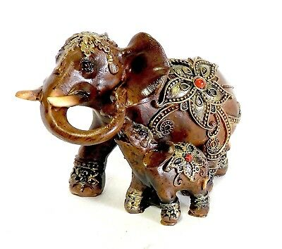 Mother Elephant With Calf Figurine Faux Wood Finished Resin Feng Shui