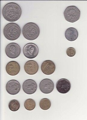 18 Mexican Coins, Mixed Lot, Various Denominations & Years