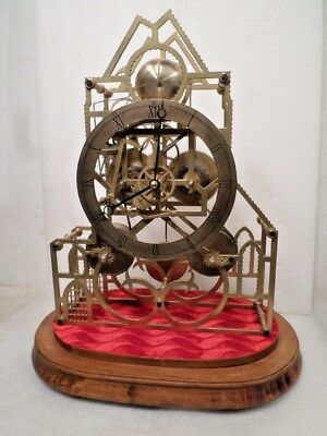 RARE Double Chain Fusee ASSYMETRICAL Skeleton Clock With Wooden Base/Glass Dome