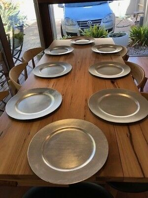 8 x Charger Plate Rustic Silver Festive Homewares Christmas Dinnerware 33cms