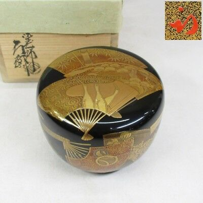 D346: High-class Japanese lacquer ware powdered tea container w/fantastic MAKIE