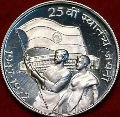 Uncirculated 1972 India 10 Rupees Silver Foreign Coin Free S/H