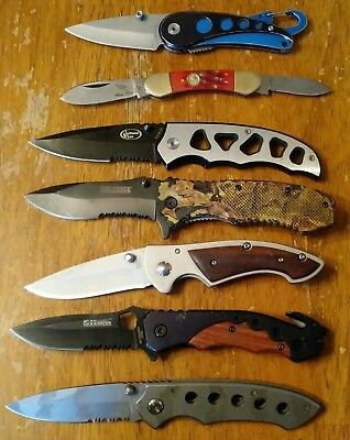 Nice Lot Of 7 Folding Pocket Knives/2 Are Spring Assisted Knife Lot