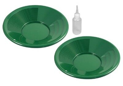 """2 Pack 8"""" Green Gold Pans with Dual Riffles & Snuffer Bottle Mining Panning Kit"""