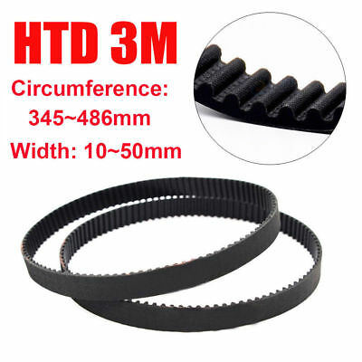 HTD 3M 10~50mm Width Closed Timing Belt Pulley Pitch Rubber Drive Belt 345~486mm