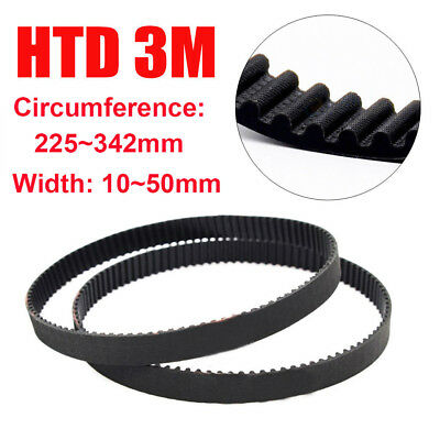 HTD 3M 10~50mm Width Closed Timing Belt Pulley Pitch Rubber Drive Belt 225~342mm