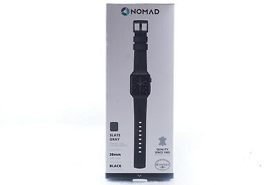 Nomad - Leather Watch Strap for Apple Watch 38mm - Slate Gray / Black Hardware