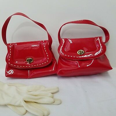 Pair of Vinyl Vintage 1960's Girls Red Purses With One Pair of Dress Gloves