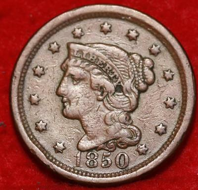 1850 Philadelphia Mint Copper Braided Hair Large Cent Free S/H
