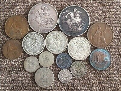 Lot Of Great Britain Silver Coins, Queen Victoria Crowns And More, Free Shipping