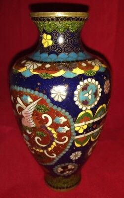Antike Qing-Dynastie Chinese Cloisonné Vase Schmetterling Muster Yin Yang