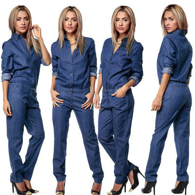 US Women's Button Romper Denim Jeans Casual Long Sleeve Overall Skinny Jumpsuit