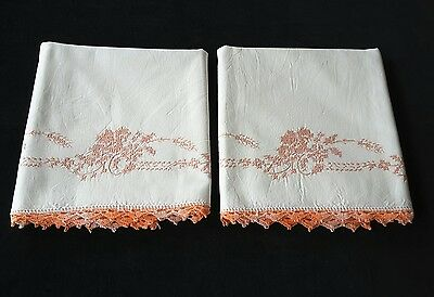 Vintage Embroidered Cross Stitch Peach Flowers Pillowcases Pair Set with Trim