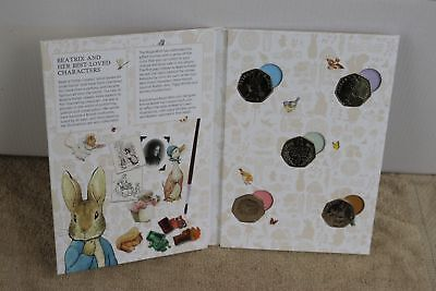 Beatrix Potter - Full Set 5 Royal Mint 50p Coins - NEW 2016 Album with all Coins