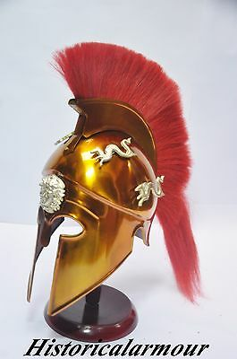 Greek Corinthian Helmet with Red Plume, Armor Sca Medieval Knight Spartan armour
