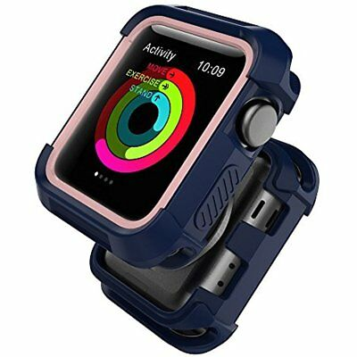 Rugged Silicone Case Cover Bumper For Apple Watch 38mm Series 3 2 1 Blue Pink