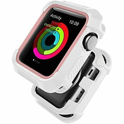 Rugged Silicone Case Cover Bumper For Apple Watch 38mm Series 3 2 1 White Pink